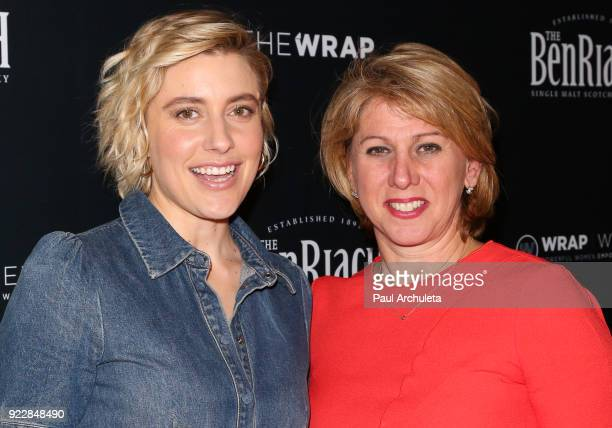Actress Greta Gerwig and Sharon Waxman attend TheWrap's 2018 'Women Whiskey And Wisdom' event celebrating women Oscar nominees at Teddy's at The...