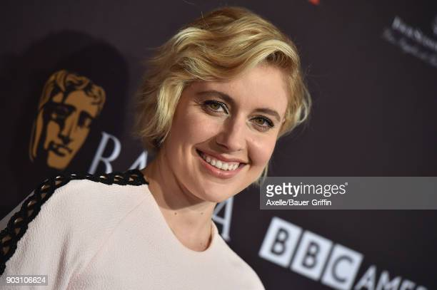 Actress Greta Gerwig arrives at The BAFTA Los Angeles Tea Party at Four Seasons Hotel Los Angeles at Beverly Hills on January 6 2018 in Los Angeles...