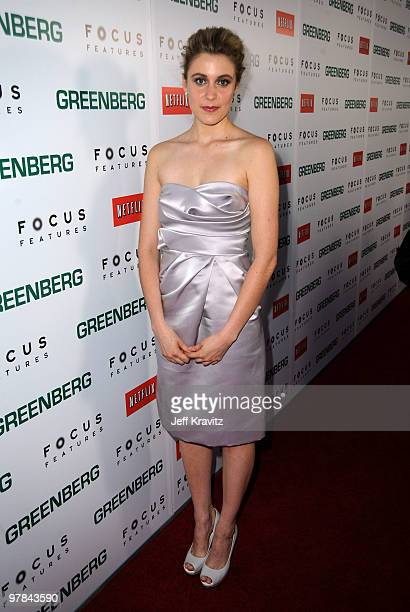 Actress Greta Gerwig arrives at the premiere of 'Greenberg' presented by Focus Features at ArcLight Hollywood on March 18 2010 in Hollywood California