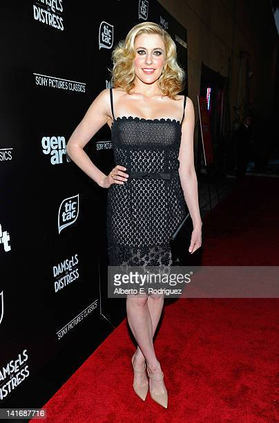 Actress Greta Gerwig arrives to the Premiere of Sony Pictures Classics' Damsels In Distress at the Egyptian Theatre on March 21 2012 in Hollywood...