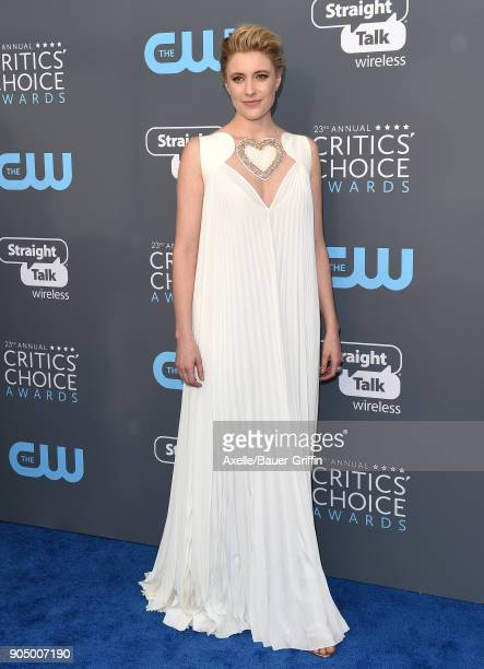 Actress Greta Gerwig attends the 23rd Annual Critics' Choice Awards at Barker Hangar on January 11 2018 in Santa Monica California