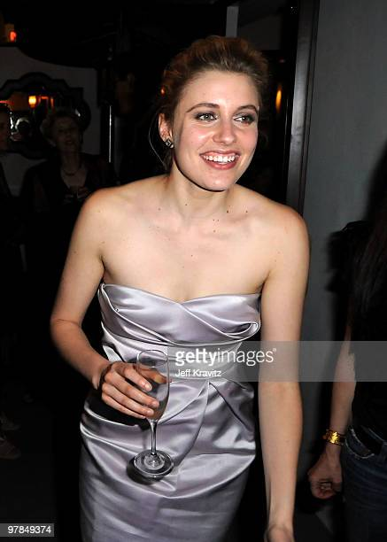 Actress Greta Gerwig attends the after party for the premiere of Greenberg presented by Focus Features at La Vida on March 18 2010 in Hollywood...