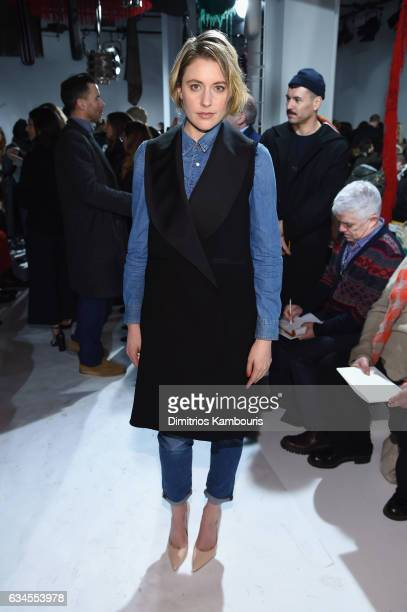 Actress Greta Gerwig attends the Calvin Klein Collection Front Row during New York Fashion Week on February 10 2017 in New York City