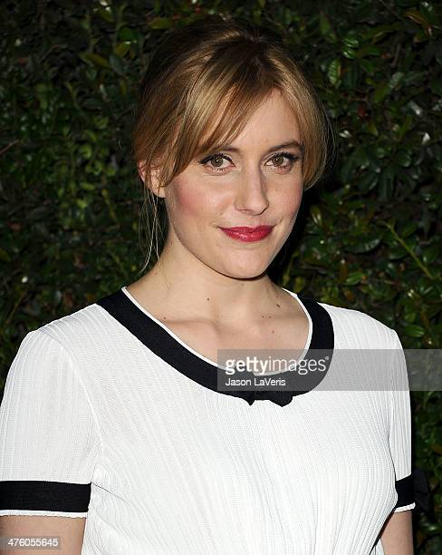 Actress Greta Gerwig attends the Chanel and Charles Finch preOscar dinner at Madeo Restaurant on March 1 2014 in Los Angeles California