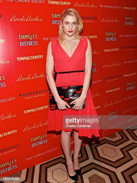 Actress Greta Gerwig attends The Cinema Society with Town Country and Brooks Brothers screening of Damsels in Distress at the Tribeca Grand Screening...