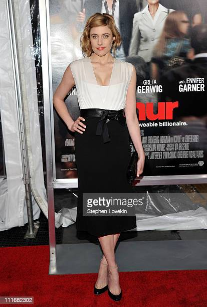 Actress Greta Gerwig attends the New York premiere of Arthur at Ziegfeld Theatre on April 5 2011 in New York City