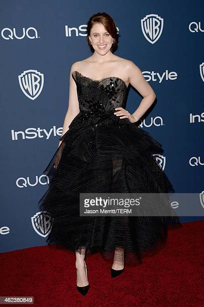 Actress Greta Gerwig attends the2014 InStyle And Warner Bros 71st Annual Golden Globe Awards PostParty at The Beverly Hilton Hotel on January 12 2014...