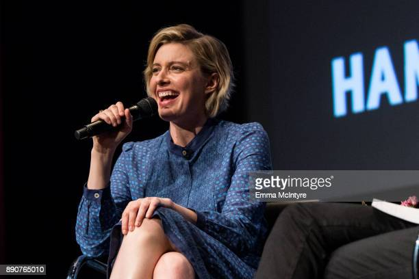 Actress Greta Gerwig speaks onstage at Hammer Museum presents The Contenders 2017 Lady Bird at Hammer Museum on December 11 2017 in Los Angeles...