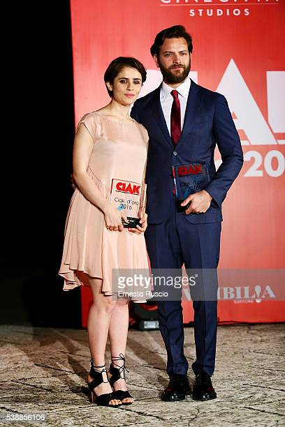 Actress Greta Scarano and Alessandro Borghi attend the Ciak D'Oro 2016 awards at Cinecitta on June 8 2016 in Rome Italy