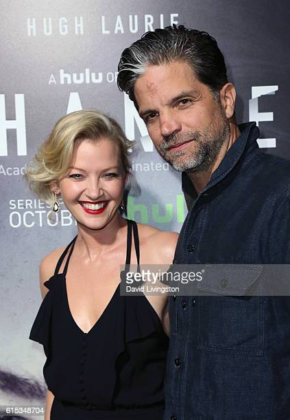 Actress Gretchen Mol and husband filmmaker Tod Williams attend the premiere of Hulu's 'Chance' at Harmony Gold Theatre on October 17 2016 in Los...