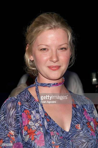 Actress Gretchen Mol arrives at a party to celebrate designer Matthew Williamson's Fall/Winter 2001 collection sponsored by Vogue at Bungalow 8 in...
