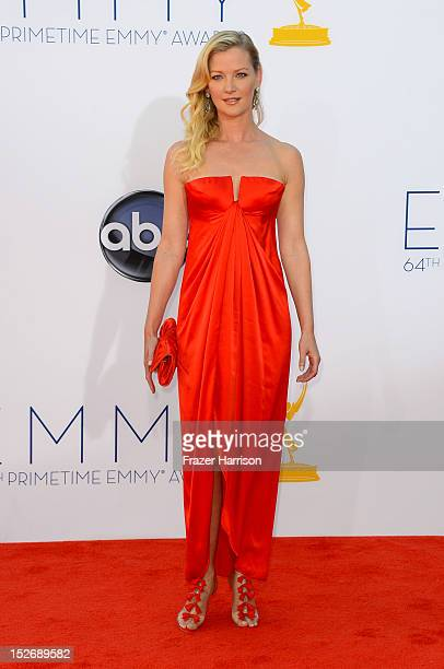 Actress Gretchen Mol arrives at the 64th Annual Primetime Emmy Awards at Nokia Theatre LA Live on September 23 2012 in Los Angeles California