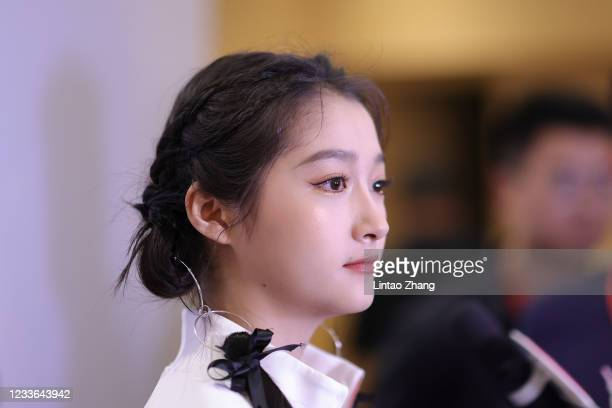 Actress Guan Xiaotong attends the Chinese Olympic Team Tokyo 2020 Uniform Unveiling at Yanxi Lake on June 25, 2021 in Beijing, China. The 2020 Tokyo...
