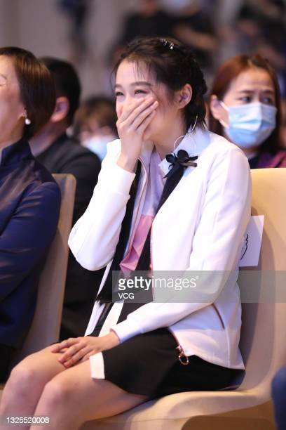 Actress Guan Xiaotong attends the Chinese Olympic Team Tokyo 2020 Uniform Unveiling at Yanxi Lake on June 25, 2021 in Beijing, China.