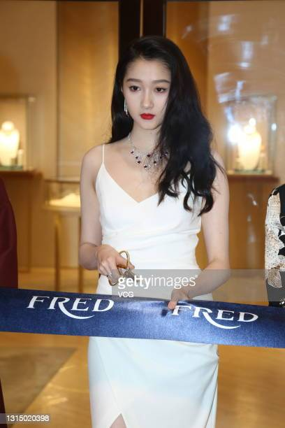 Actress Guan Xiaotong attends the opening ceremony of Fred flagship store on April 28, 2021 in Beijing, China.