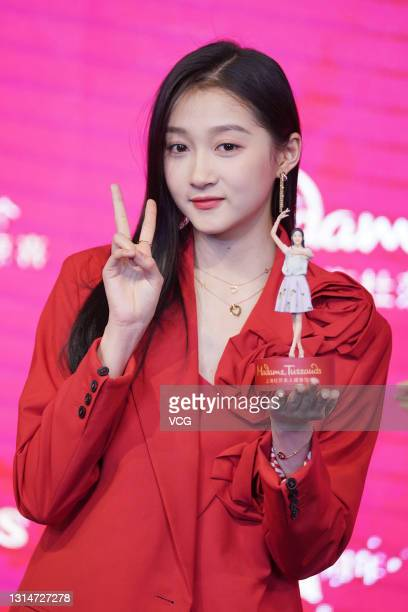 Actress Guan Xiaotong attends the unveiling ceremony of her wax figure at Madame Tussauds Shanghai on April 26, 2021 in Shanghai, China.