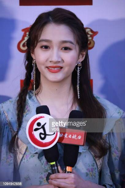 Actress Guan Xiaotong receives an interview during rehearsal of BTV Spring Festival Gala on January 15 2019 in Beijing China