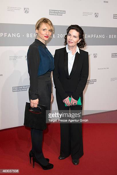 Actress Gudrun Landgrebe and Christina Grosse of the TV series 'Weinberg' attend the NRW Reception 2015 at Landesvertretung on February 8 2015 in...