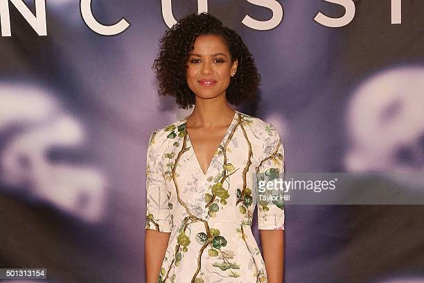 """Actress Gugu Mbatha-Raw attends a photocall for """"Concussion"""" at Crosby Street Hotel on December 14, 2015 in New York City."""