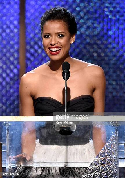 Actress Gugu Mbatha-Raw speaks onstage during the BAFTA Los Angeles Jaguar Britannia Awards presented by BBC America and United Airlines at The...