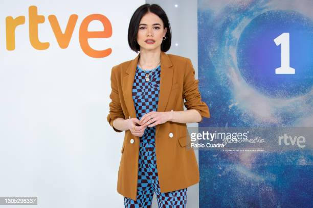 Actress Guiomar Puerta attends 'Estoy Vivo' photocall at RTVE on March 04, 2021 in Madrid, Spain.