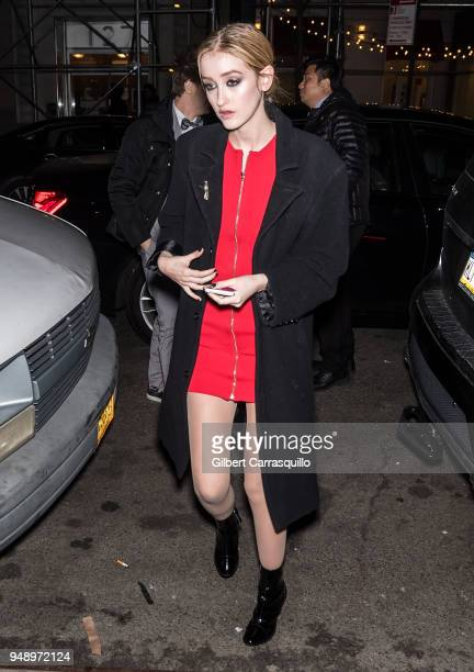 Actress Gus Birney is seen arriving the 2018 Tribeca Film Festival afterparty for 'Blue Night' hosted by Nespresso at The Ainsworth on April 19 2018...