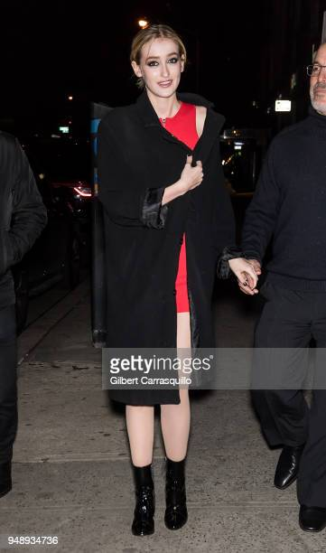 Actress Gus Birney is seen leaving the 2018 Tribeca Film Festival afterparty for 'Blue Night' hosted by Nespresso at The Ainsworth on April 19 2018...