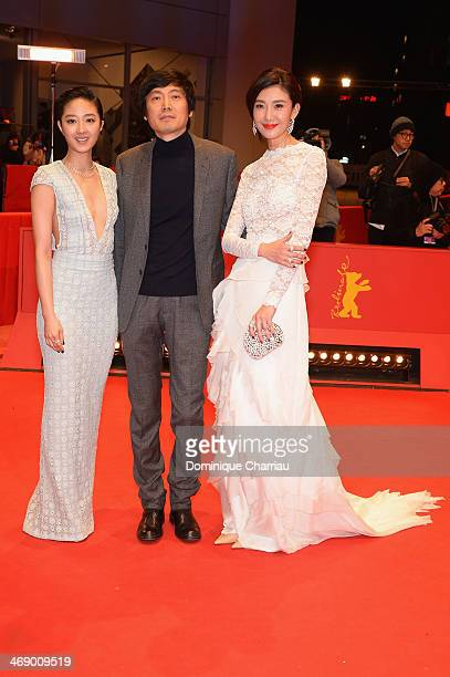 Actress Gwei Lun Mei director Diao Yinan and actress Ni Jingyang attend the 'Black Coal Thin Ice' premiere during 64th Berlinale International Film...