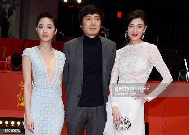 Actress Gwei Lun Mei director Diao Yinan and actress Ni Jingyang attend the 'Black Coal Thin Ice' premiere during 64th Berlinale International Film...