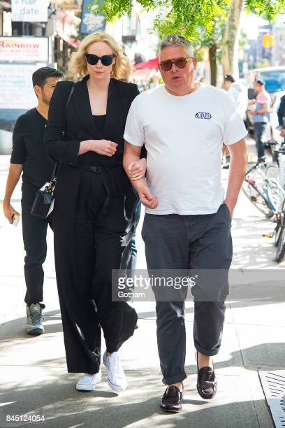 Actress Gwendoline Christie and Giles Deacon are seen in the East Village on September 9 2017 in New York City
