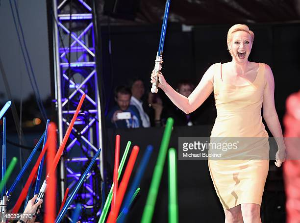 Actress Gwendoline Christie and more than 6000 fans enjoyed a surprise 'Star Wars' Fan Concert performed by the San Diego Symphony featuring the...