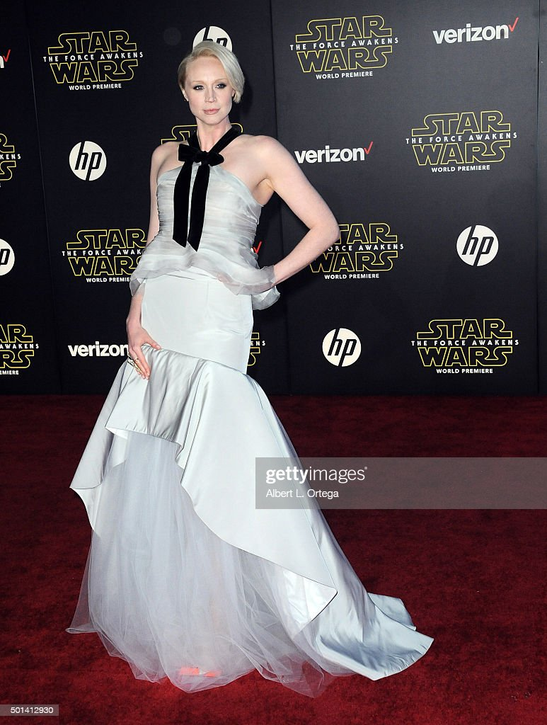 Actress Gwendoline Christie arrives for the Premiere Of Walt Disney Pictures And Lucasfilm's 'Star Wars: The Force Awakens' held on December 14, 2015 in Hollywood, California.