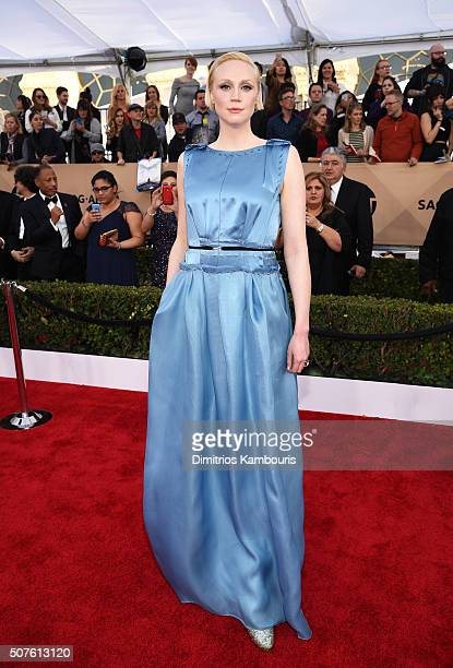 Actress Gwendoline Christie attends The 22nd Annual Screen Actors Guild Awards at The Shrine Auditorium on January 30 2016 in Los Angeles California...