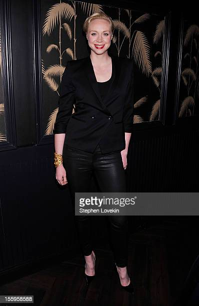 Actress Gwendoline Christie attends the after party for a screening Of 'Hotel Noir' hosted by The Cinema Society and Gato Negro Films at No 8 on...