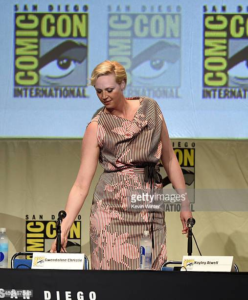 Actress Gwendoline Christie attends the Entertainment Weekly Women Who Kick Ass panel during ComicCon International 2015 at the San Diego Convention...
