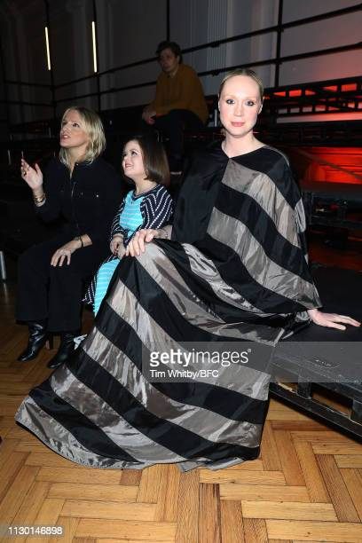 Actress Gwendoline Christie attends the International Woolmark Prize 18/19 Final show during London Fashion Week February 2019 at the Lindley Hall on...