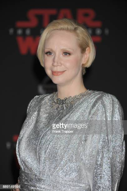 Actress Gwendoline Christie attends the premiere of Disney Pictures and Lucasfilm's 'Star Wars The Last Jedi' held at The Shrine Auditorium on...