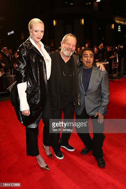 Actress Gwendoline Christie director Terry Gilliam and actor Sanjeev Bhaskar attend a screening of 'Zero Theorem' during the 57th BFI London Film...
