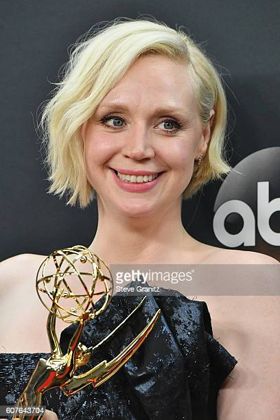 Actress Gwendoline Christie of 'Game of Thrones' winner of the Oustanding Drama Series award poses in the press room during the 68th Annual Primetime...