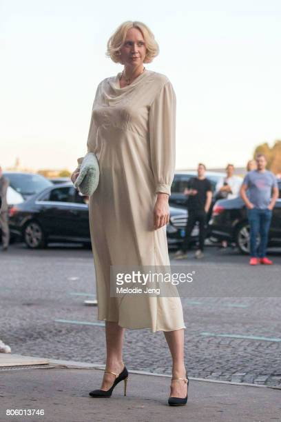 Actress Gwendoline Christie outside the Miu Miu Cruise 2018 show on July 2 2017 in Paris France
