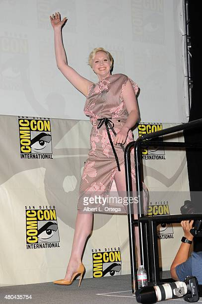 Actress Gwendoline Christie walks onstage at the Entertainment Weekly Women Who Kick Ass panel during ComicCon International 2015 at the San Diego...