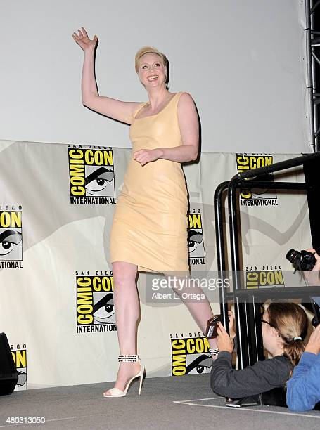 Actress Gwendoline Christie walks onstage at the Lucasfilm panel during ComicCon International 2015 at the San Diego Convention Center on July 10...