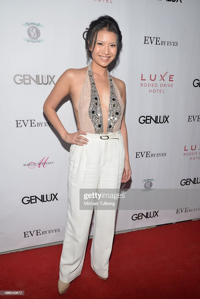 Actress Gwendoline Yeo attends the Cover Girl Elizabeth Hurley & Genlux Magazine Issue Release Party at Eve by Eves on March 12, 2015 in Beverly Hills, California.