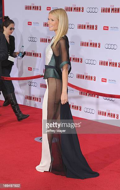 Actress Gwenyth Paltrow arrives at the 'Iron Man 3' Los Angeles Premiere at the El Capitan Theatre on April 24 2013 in Hollywood California