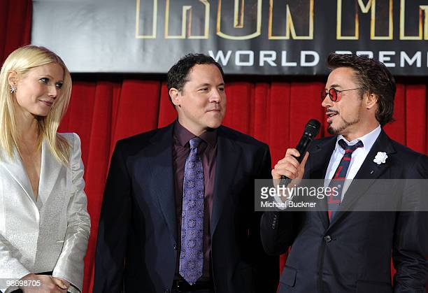 Actress Gwenyth Paltrow Director/Executive Producer Jon Favreau and actor Robert Downey Jr arrive at the world wide premiere of Iron Man 2 held at...
