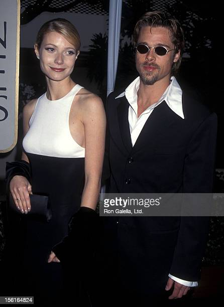 Actress Gwyneth Paltrow and actor Brad Pitt attend the 53rd Annual Golden Globe Awards on January 21 1996 at Beverly Hilton Hotel in Beverly Hills...