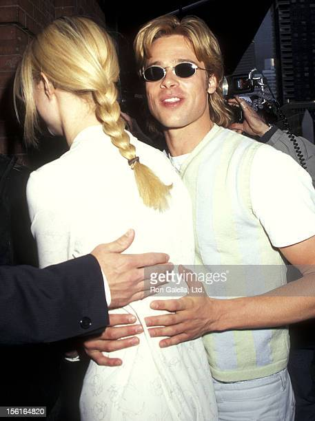 Actress Gwyneth Paltrow and actor Brad Pitt attend 'The Pallbearer' New York City Premiere on April 28 1996 at the Tribeca Film Center in New York...