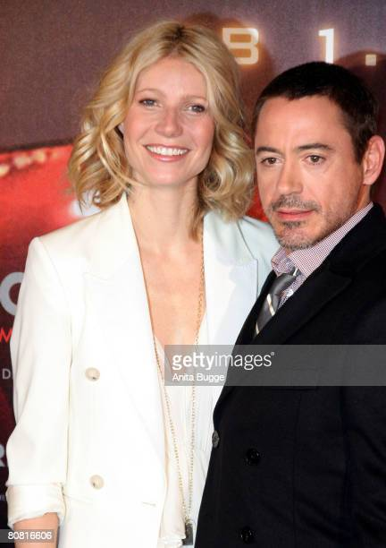 Actress Gwyneth Paltrow and actor Robert Downey Jr attend the photocall to the movie 'Ironman' at the RitzCarlton on April 22 2008 in Berlin Germany
