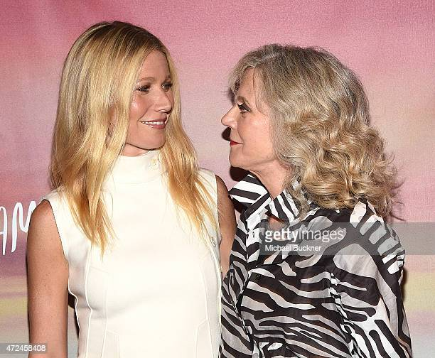 Actress Gwyneth Paltrow and actress Blythe Danner arrive at the screening of I'll See You In My Dreams at The London Screening Room on May 7 2015 in...