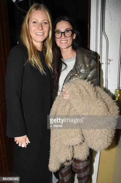 Actress Gwyneth Paltrow and actress Demi Moore attend the 2018 Sun Valley Film Festival Coffee Talk with Gwyneth Paltrow on March 18 2018 in Sun...
